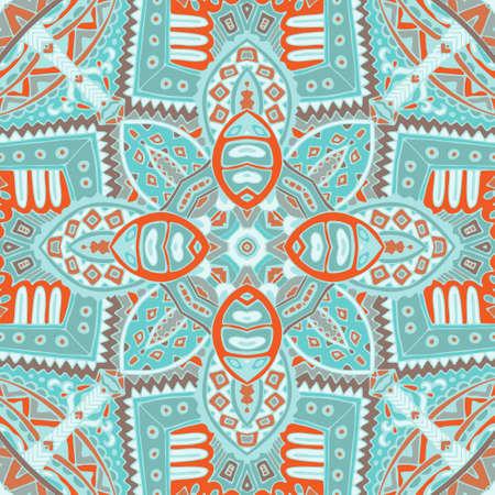 Abstract Tribal indian mosaic motif seamless pattern. Bohemian Geometric print
