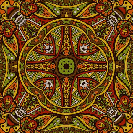 Abstract festive colorful grunge vector ethnic tribal pattern Ilustração