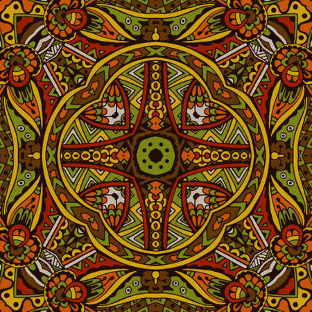 Abstract festive colorful grunge vector ethnic tribal pattern Illustration