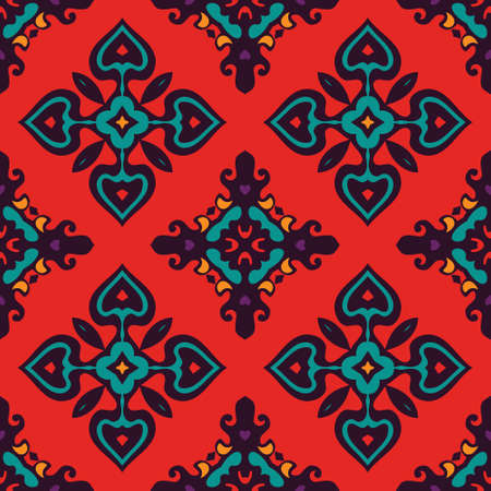 rapport: bright colorful Damask seamless tiled vector design for fabric