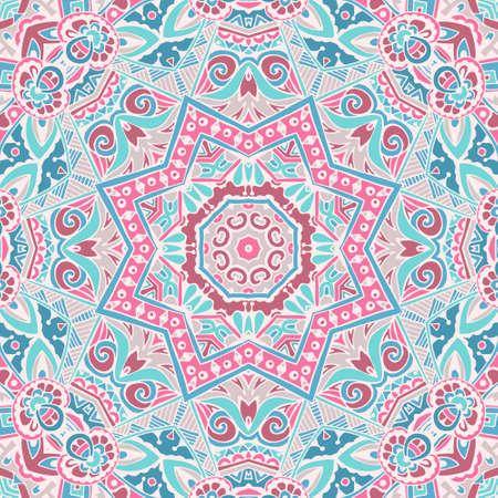 Festive Colorful Tribal ethnic seamless vector pattern ornamental. Geometric print