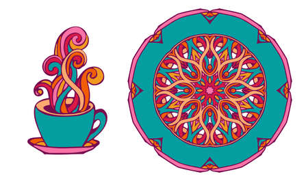 cofee cup and plate ornamental swirl and curl decorated Illustration