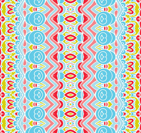 colorful festive pattern for fabric. Abstract geometric striped vintage seamless pattern ornamental. Illustration