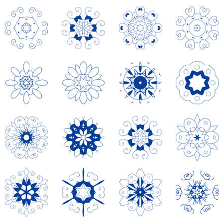 Set of mandalas. Collection of line art stars and snowflakes. Vector round ethnic ornaments. Simple design elements.