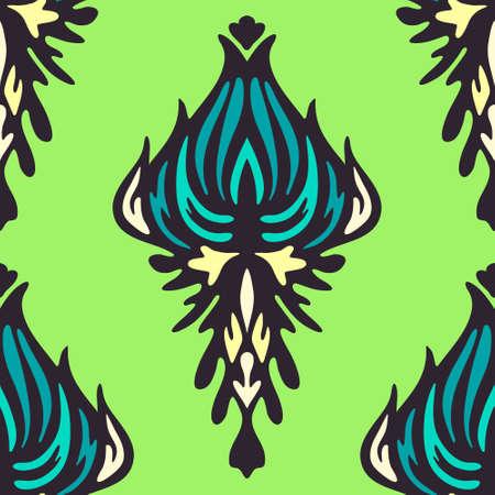 Green damask flower Illustration
