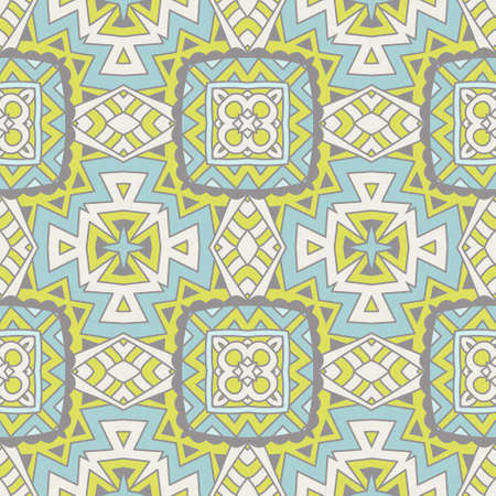 Abstract geometric background. Mosaics tiled retro vintage vector seamless pattern Illustration