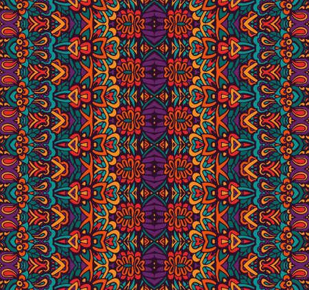 ethnic colorful geometric striped seamless pattern