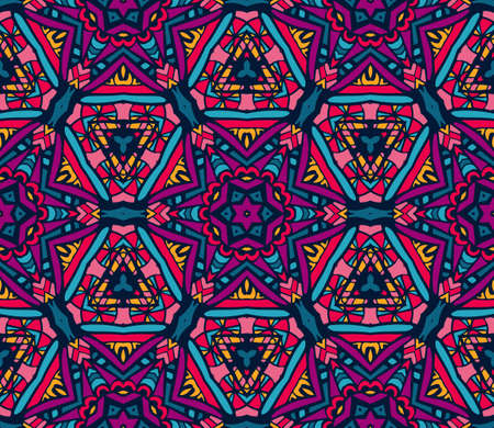 abstract festive colorful funky star pattern geometric mosaic