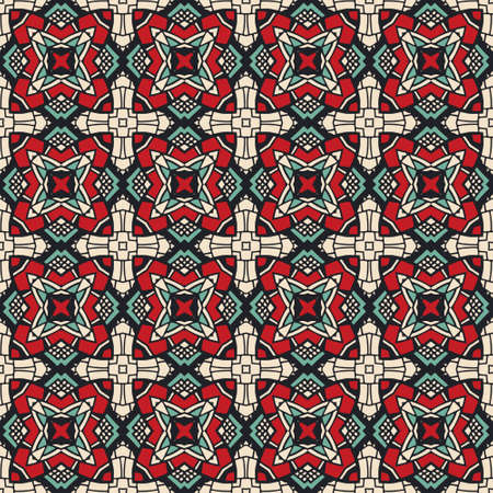 Abstract ornamental tiles pattern for fabric.