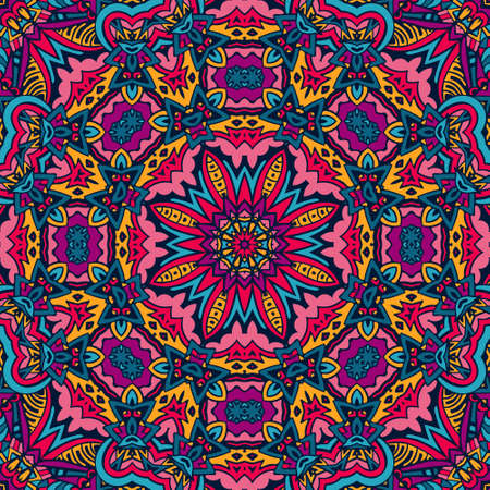 Colorful Tribal Ethnic Festive Abstract Floral Pattern. Geometric zentangle mandala frame border Imagens - 88911339