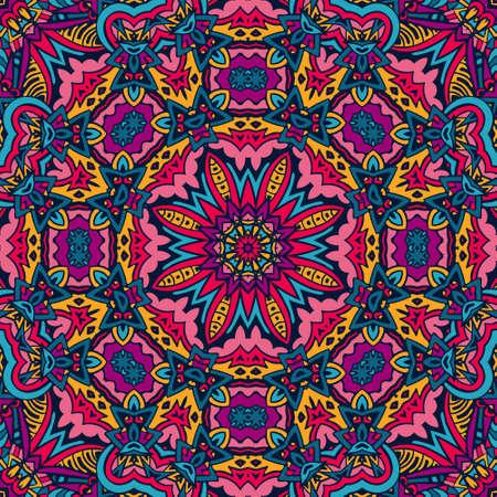 Colorful Tribal Ethnic Festive Abstract Floral Pattern. Geometric zentangle mandala frame border