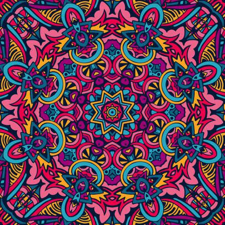 カラフルな部族の民族のお祝い抽象的な花のベクトルパターン。幾何学的なマンダラフレームの境界線