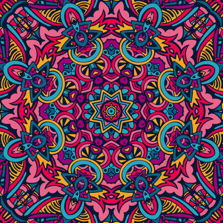 Colorful Tribal Ethnic Festive Abstract Floral Vector Pattern. Geometric  mandala frame border Illustration