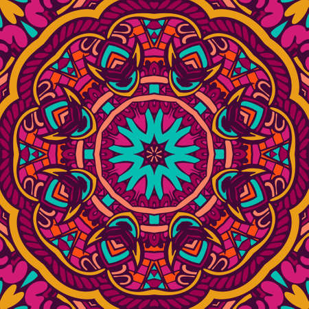 Colorful mandala pattern for festival decor, paper wrap. Kaleidoscopic design in floral funky doodle style. best for holiday wrap and new year ball decor