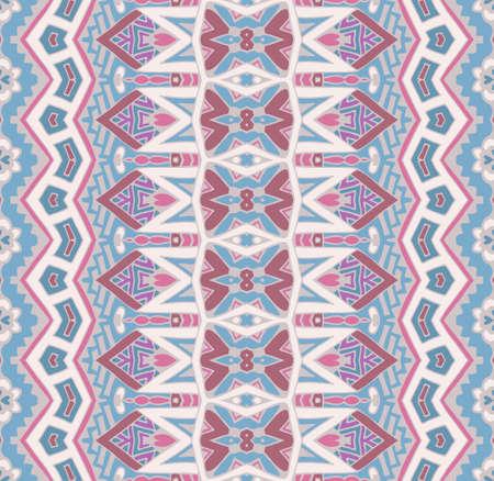 抽象的なストライプの装飾モチーフシームレスなパターン。ボヘミアン幾何学模様