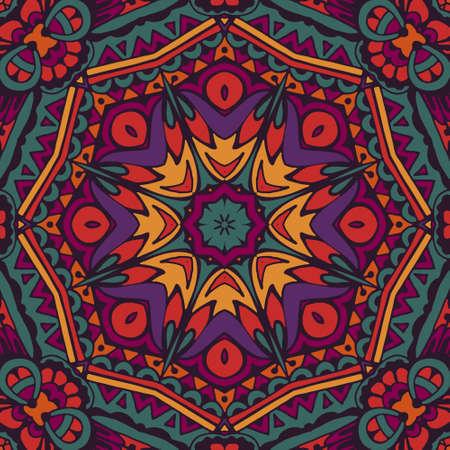 Colorful floral vector ethnic tribal pattern illustration. Illustration