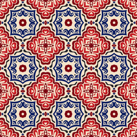 geometric Decorative tile pattern design vector. Vintage backgroundsclassic ornament fill