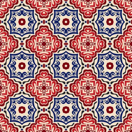 geometrische Decoratieve tegel patroon ontwerp vector. Vintage achtergrondscopische ornamentvulling Vector Illustratie