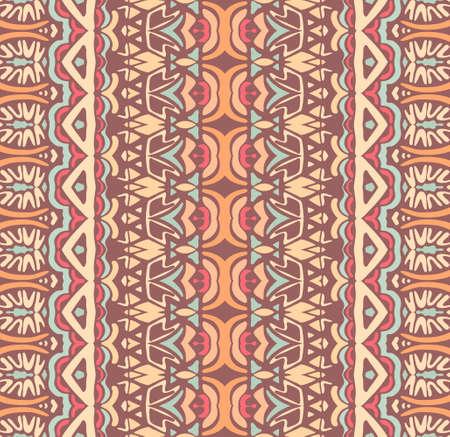 Abstract striped ornamental motif seamless pattern. Bohemian Geometric aztec print