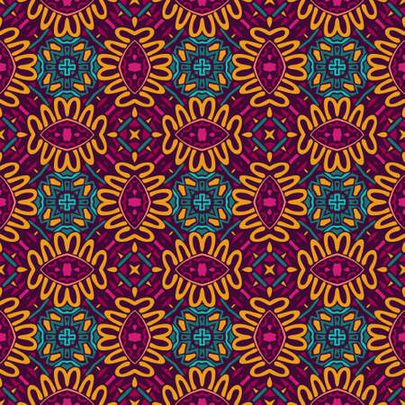 Abstract festive colorful floral vector ethnic tribal pattern with fantasy flowers