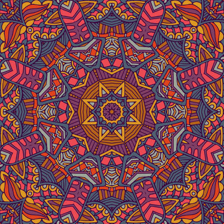 Tribal indian ethnic seamless design. Festive colorful mandala pattern. . Geometric mandala frame border