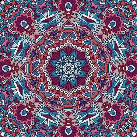 Tribal indian ethnic seamless design. Festive colorful mandala pattern. . Geometric mandala Vektorové ilustrace