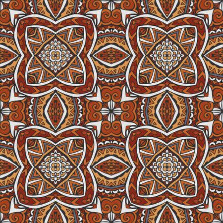 Indian tribes design inspiration. Ethnic geometric seamless vintage medallion mandala ornamental pattern