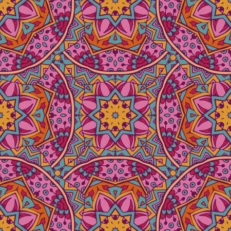 Tribal indian ethnic seamless design. Festive colorful mandala pattern. Geometric abstract mandala