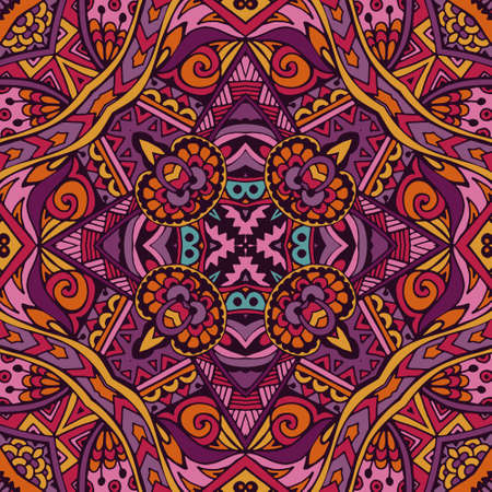 Colorful Tribal Ethnic Festive Abstract Floral Vector Pattern. Geometric trance mandala frame border  イラスト・ベクター素材