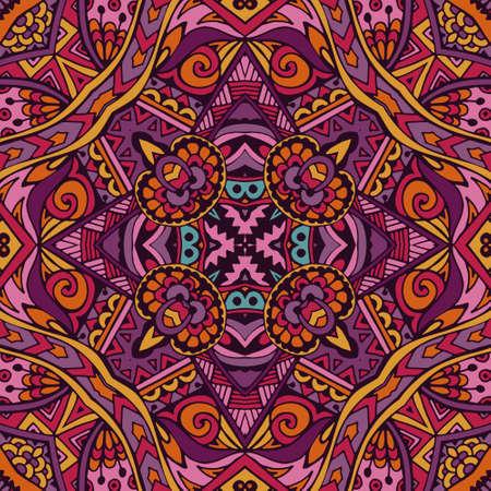 Colorful Tribal Ethnic Festive Abstract Floral Vector Pattern. Geometric trance mandala frame border Illustration