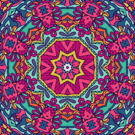 Tribal indian ethnic seamless design. Festive colorful mandala pattern Illustration