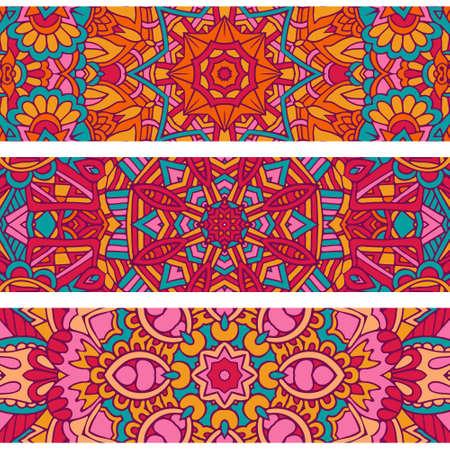 Festive colorful ornamental tribal ethnic bohemia fashion abstract banner set Illustration
