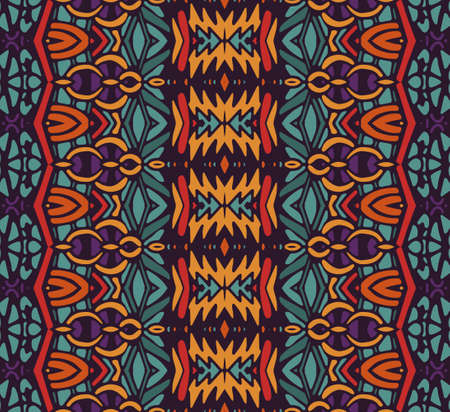 ethnic tribal festive pattern for fabric. Abstract geometric striped colorful seamless pattern ornamental. Illusztráció