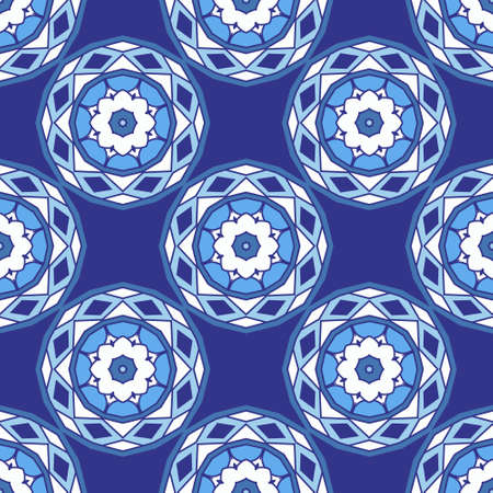 Blue vector seamless ceramic tile design pattern background. Geometric flowers and circles in blue surface design for wallpaper, fabric, web, porcelain Vettoriali
