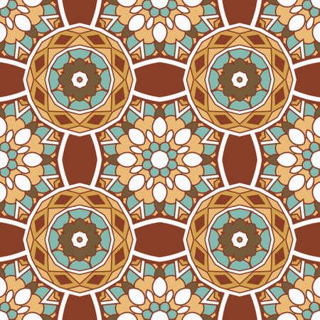seamless ceramic tile design pattern background. flower mandala design surface. Illustration