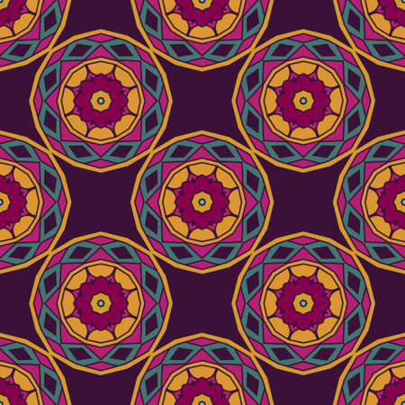 Abstract Tribal vintage ethnic seamless pattern ornamental. Festive colorful background design with geometric flowers and circles  イラスト・ベクター素材