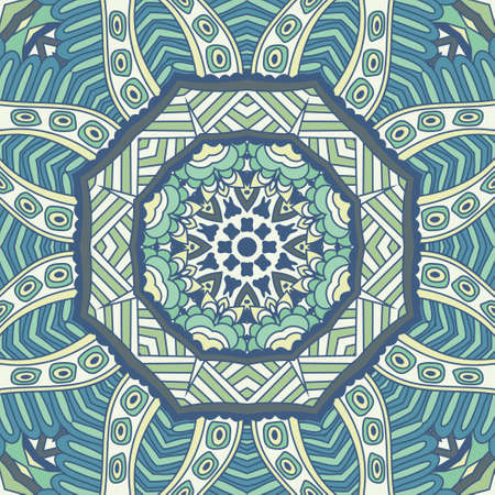 Kaleidoscopic doodle abstract ornamental color illustration with stylized covering. winter background seamless vector pattern