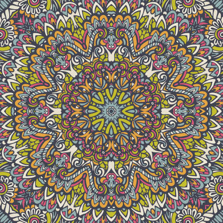 Tribal indian flower ethnic seamless design. Festive colorful mandala pattern ornament. For wallpaper and fabrick