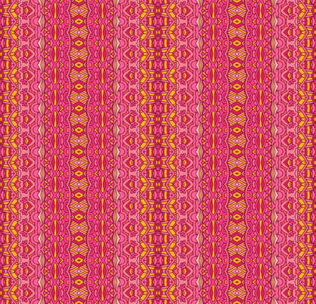 Bright colored seamless pattern with ethnic tribal ornament. Boho design. Pink geometric pattern. Folk stylized print template for paper and textile.