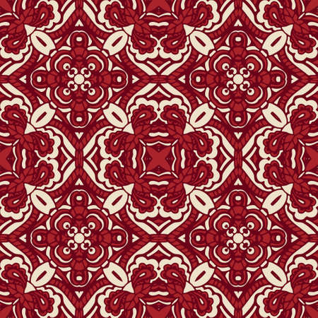 Damask seamless tiled motif vector pattern. Red damask luxury Medallion fabric design.