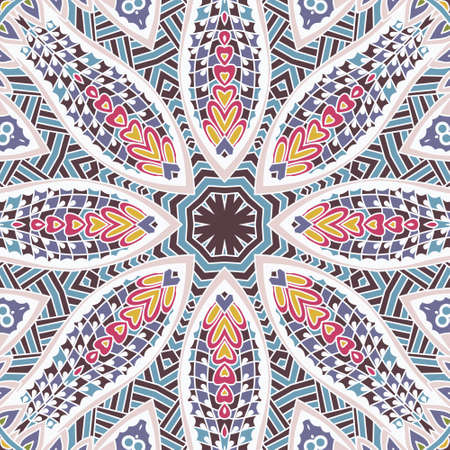 Tribal indian flower seamless design. Festive colorful mandala pattern ornament. Colorful Tribal Ethnic Festive Abstract Geometric Vector Pattern. Geometric zen doodle frame border Illustration