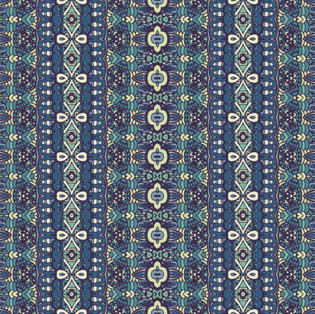 Ethnic striped blue winter fashion pattern for fabric. Abstract geometric mosaic vintage seamless pattern ornamental.