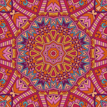 festival art seamless pattern. Ethnic flower mandala geometric print. Colorful repeating background texture. Fabric, cloth design, wallpaper, wrapping