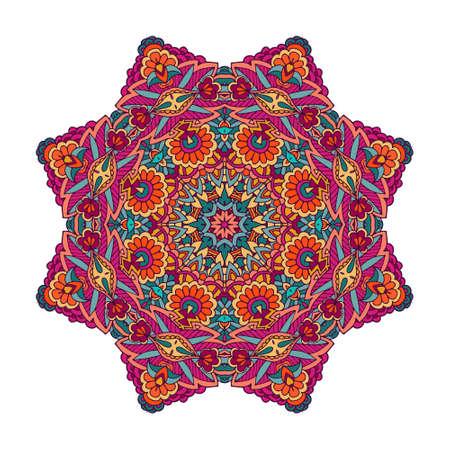 festival art . Ethnic geometric print. Colorful mandala design