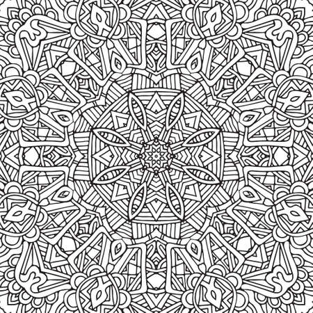 Seamless ethnic floral doodle black and white background pattern in vector. Henna paisley mandala mehndi tribal doodles design. Pattern for coloring by kids and adults. Illustration