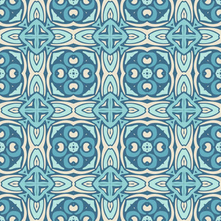 Gorgeous seamless patchwork pattern from blue and white oriental tiles, ornaments. Can be used for wallpaper, backgrounds, decoration for your design, ceramic, page fill and more.