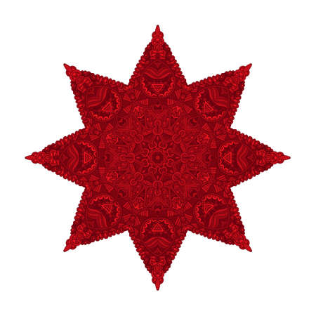 Star vector red christmas pattern with arabesques and floral elements. Doodle ornamental geometric new year symbol