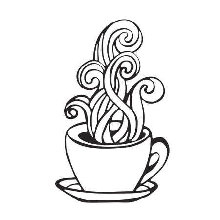 hot coffee cup smoke icon image black and white handdrawn in cartoon doodle style