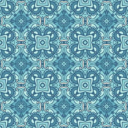 Damask seamless tiles vector design blue pattern ornamental