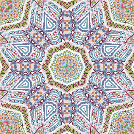 festival art seamless pattern mandala. Ethnic geometric print. Colorful repeating background texture.
